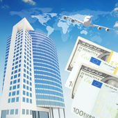 Airplane with background of skyscrapers and money — Foto de Stock