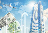 Airplane with background of skyscrapers and arrows — Stock Photo