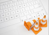 Traffic cones on the keyboard — Stock Photo