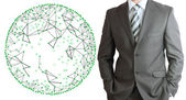 Businessman in a suit with wire frame sphere — Stock Photo