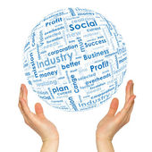 Woman hands sphere with business words — Stock Photo