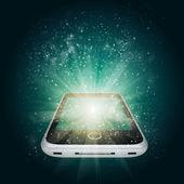 Telefone inteligente com luz mágica e estrelas cadentes — Fotografia Stock