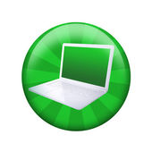 Open laptop. Spherical glossy button — Stock Photo