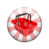 Shopping basket. Spherical glossy button — Photo