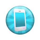 White smart phone. Spherical glossy button — Stock Photo