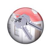 两个金属与房子的钥匙。球形光泽按钮 — 图库照片