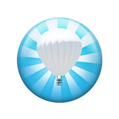 Hot air balloon. Spherical glossy button — Stock Photo