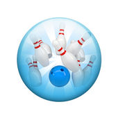 Bowling ball and skittles. Spherical glossy button — Photo