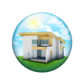 Blue sky, green grass and house — Stock Photo