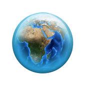 Země. sférické lesklý tlačítko. prvek webové — Stock fotografie