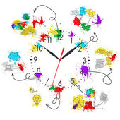 Clock face with colored business sketches — Foto de Stock