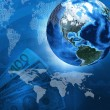 Earth, world map on money background — Stock Photo #49213517