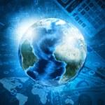 Earth, world map on money background — Stock Photo #49213577