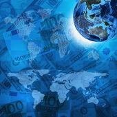 地球,世界上的钱背景地图 — 图库照片