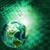 Earth, digits and keyboard on money background — Stock Photo