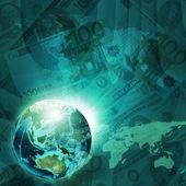 地球、お金の背景に世界地図 — ストック写真