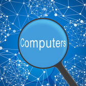 Magnifying glass looking Computers — Stock Photo