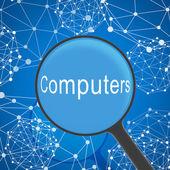 увеличительное стекло смотреть компьютеров — Стоковое фото