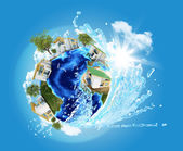 Earth with buildings and water — Stock Photo