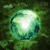 Earth, world map and graphs on money background — Stock Photo