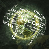 Earth, sphere consists business words and graphs — Stock Photo