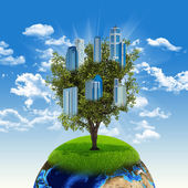 Earth and tree with buildings — Foto de Stock