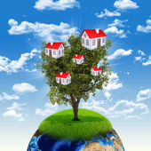 Earth and tree with houses — Foto de Stock