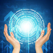 Hands hold glow circle consists business words — Stockfoto
