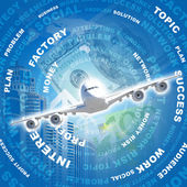 Airplane against business words and money — Stockfoto