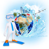 3d diver near the Earth with houses and trees — Stock Photo