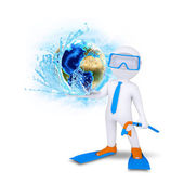 3d diver hold Earth with water splash — Stock Photo