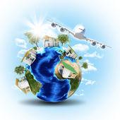 Jorden med hus och flygplan — Stockfoto