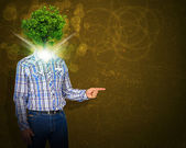 Man stand with green tree instead his head — Stock Photo