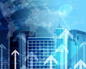 Skyscrapers with background of graphs and arrows — Stock Photo