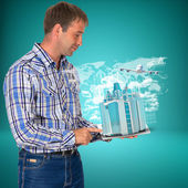Man hold tablet pc with airplane, skyscrapers and arrow — Stock Photo