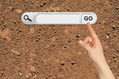 Human hand indicates the search bar in browser — Stock Photo