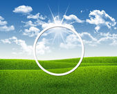 White circle on nature landscape background — Foto Stock