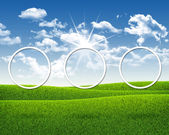 Three white circles on nature landscape background — Foto Stock