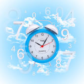 Alarm clock with figures — Stockfoto