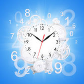Clock face with figures and white gears — Stock Photo