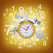 Alarm clock with springs and gears — Stock Photo