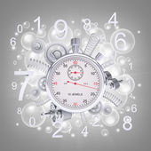 Stopwatch with figures and gears — Stock Photo