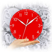 Hand houd clock — Stockfoto