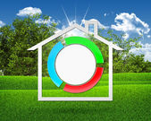 House icon and stylized button — Stockfoto