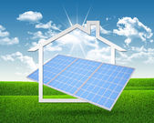 Solar battery and symbol of house — Stockfoto