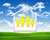 House icon with family symbol — Stockfoto