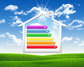 House icon with grid energy efficiency — Foto Stock