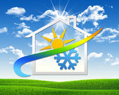 House icon with weather symbol — 图库照片