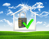 House icon and combination lock — Stockfoto
