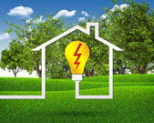 Symbol of light bulb and house — Stock Photo
